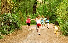 Trail with kids walking